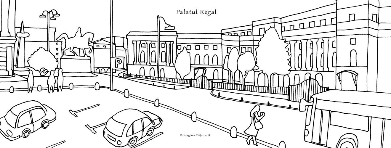plansa de colorat, muzeul de arta (palatul regal) - bucuresti centenar
